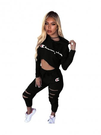 2a852a72f5e JurllyShe Champion Letter Print Long Sleeve Crop Top   Cut Out Pants Two  Piece Sets