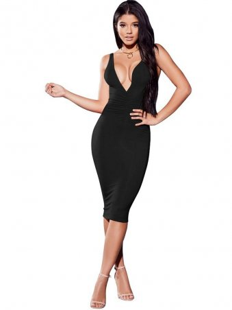 edf2ad36c3cd JurllyShe Pleated Plunging Neck Bodycon Dress