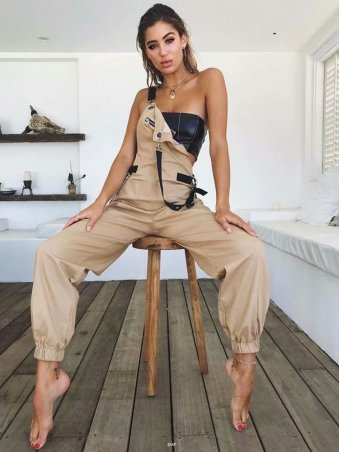 5e9ca710229b JurllyShe Zippers Adjustable Backless Suspenders Jumpsuit Overalls
