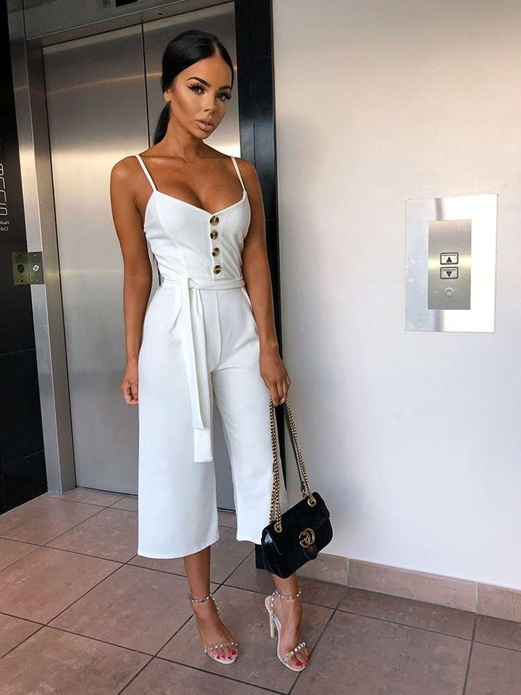 f29d281e083e JurllyShe Button Up Front Self Belted Cami Jumpsuit-White