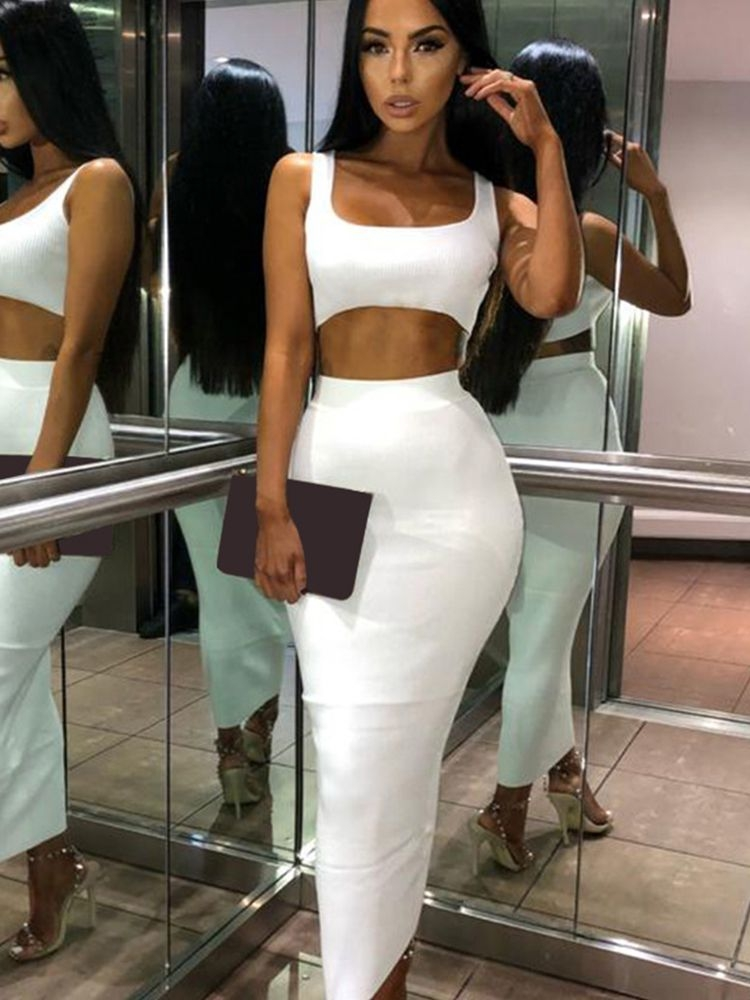 Jurllyshe Rib-Knit Solid Crop Top With Long Bodycon Skirt Set