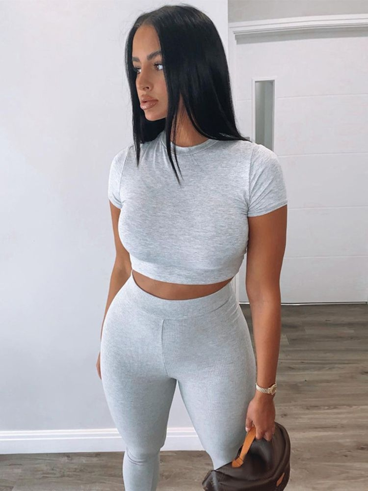 Jurllyshe Round Neck Short Sleeve Crop Top With Legging Pants Set