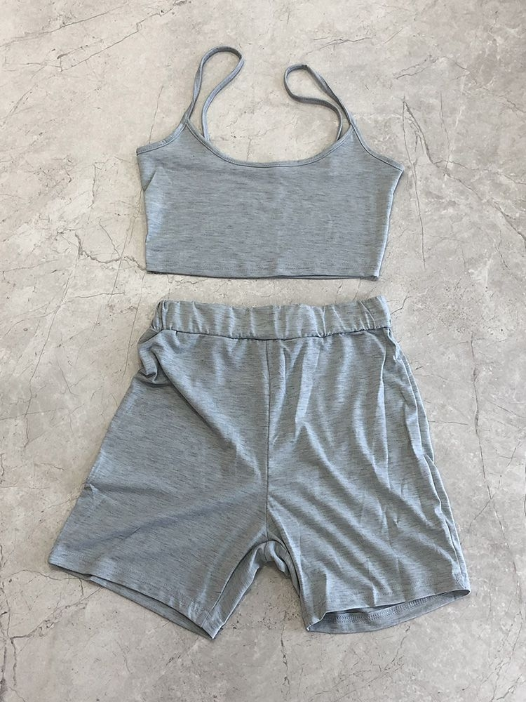 Jurllyshe Slim Solid Crop Top With Casual Short Sets