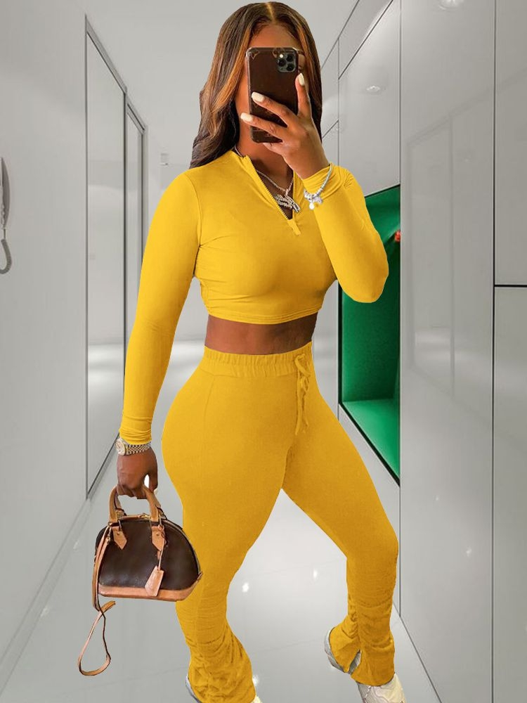 Jurllyshe Solid Color Zipper Long Sleeve Top With Pleated Pants Set
