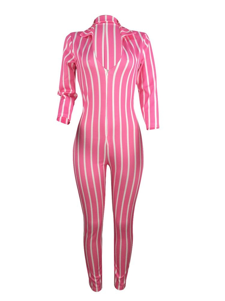 Jurllyshe Striped Zipper Nine Points Sleeve Sexy Jumpsuits